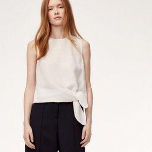 Babaton (Aritzia) Hopkins white dotted blouse
